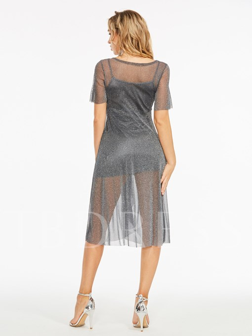 See-Through Chiffon Cami Women's Skirt Suit