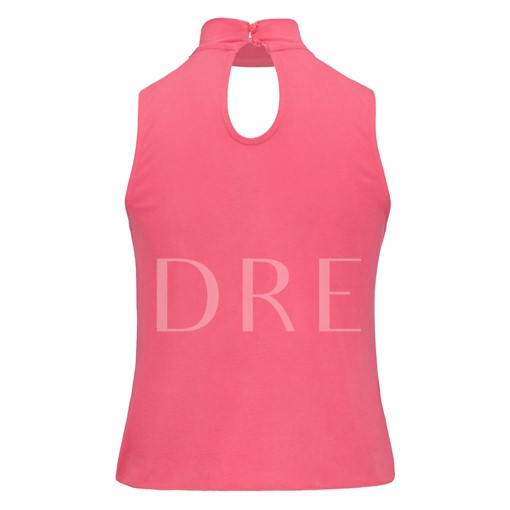Hollow Sleeveless Stand Collar Solid Color Women's Blouse