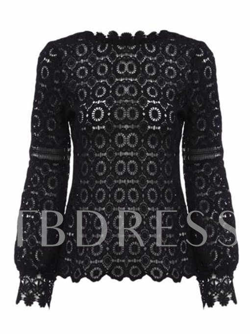 Chic Hollow Out Lantern Sleeve Lace Women's Blouse
