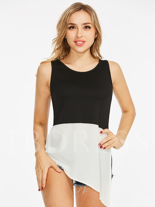 Asymmetric Suspenders Color Block Women's Tank Top