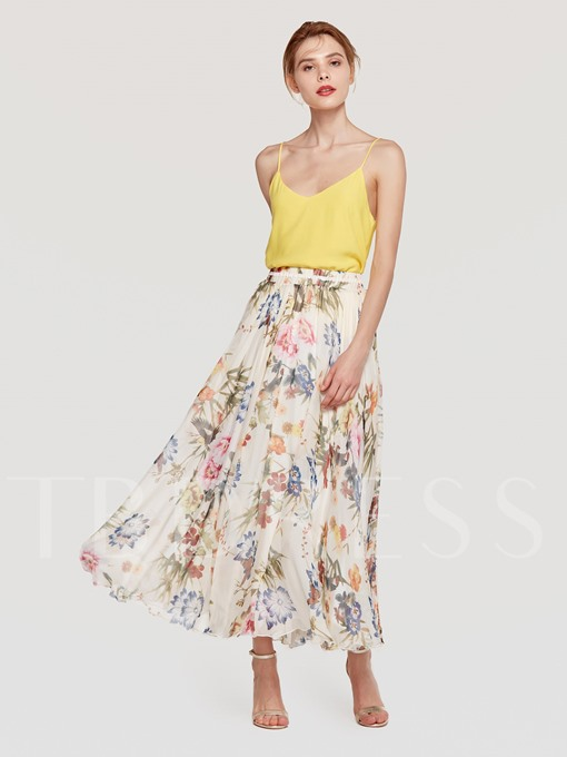 Chiffon Floral Print Long Women's Maxi Skirt