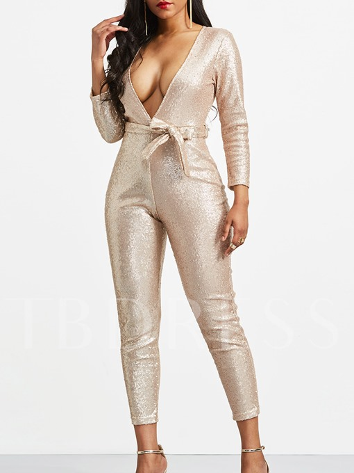 Sequin V-Neck Skinny Full Length Women's Jumpsuit