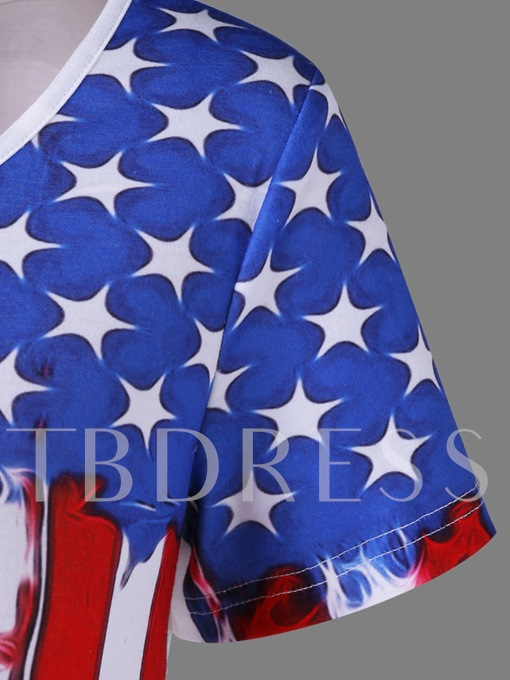 Asymmetric American Flag Women's Tee Shirt