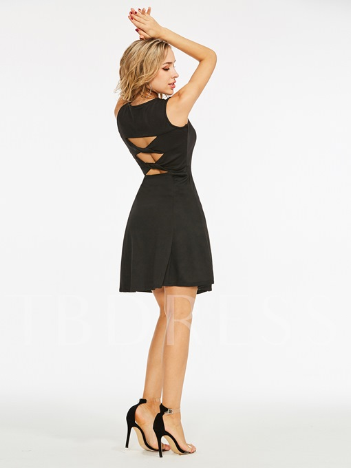 Black Round Neck Backless A-Line Party Dress