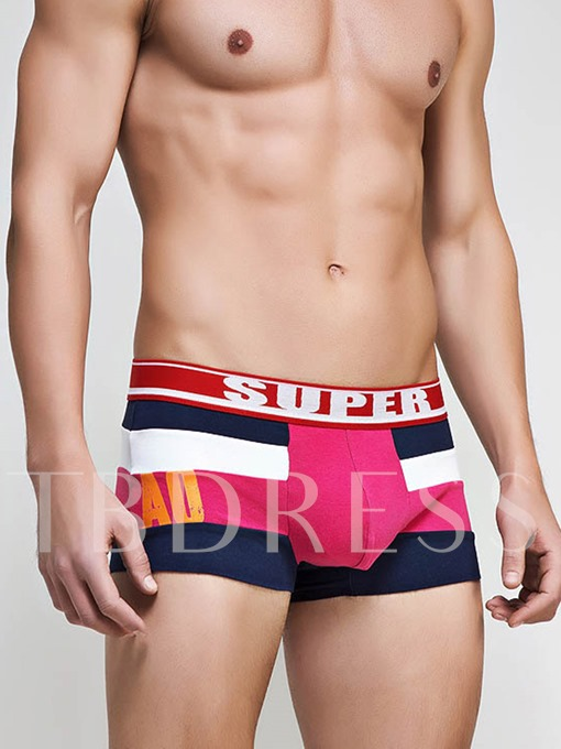 Letter Color Block U Convex Cotton Men's Boxer Briefs