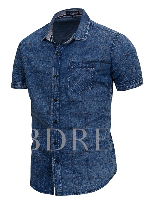 Lapel Short Sleeve Slim Men's Denim Shirt