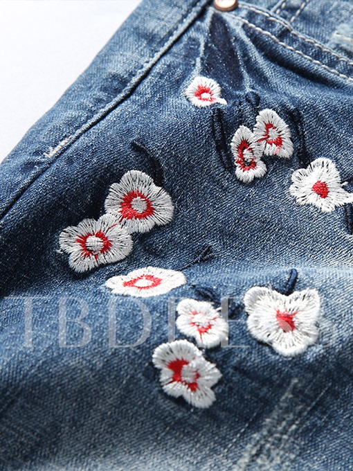 Embroidery Worn Slim Men's Short Jeans