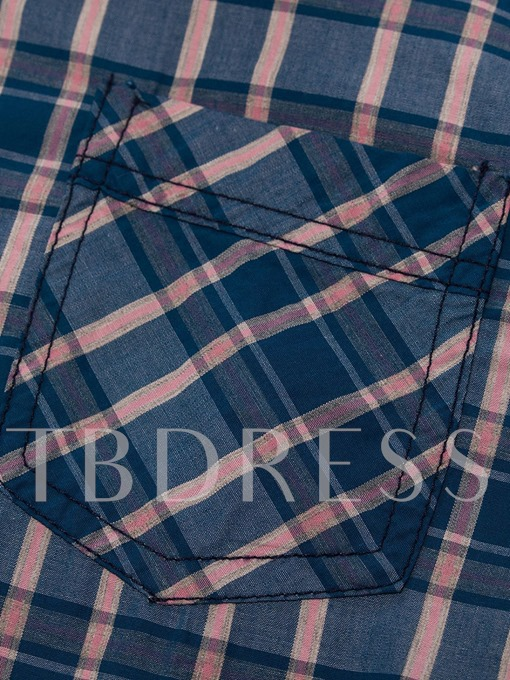Lapel Cotton Fine Plaid Leisure Men's Shirt