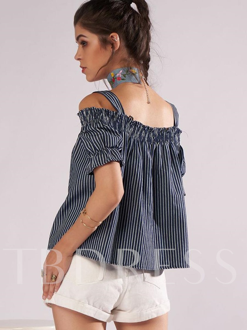 Off-The-Shoulder Short Sleeve Women's Blouse