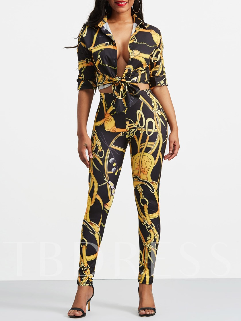 African Print Long Sleeve Shirt and Pants Women's Two Piece Set