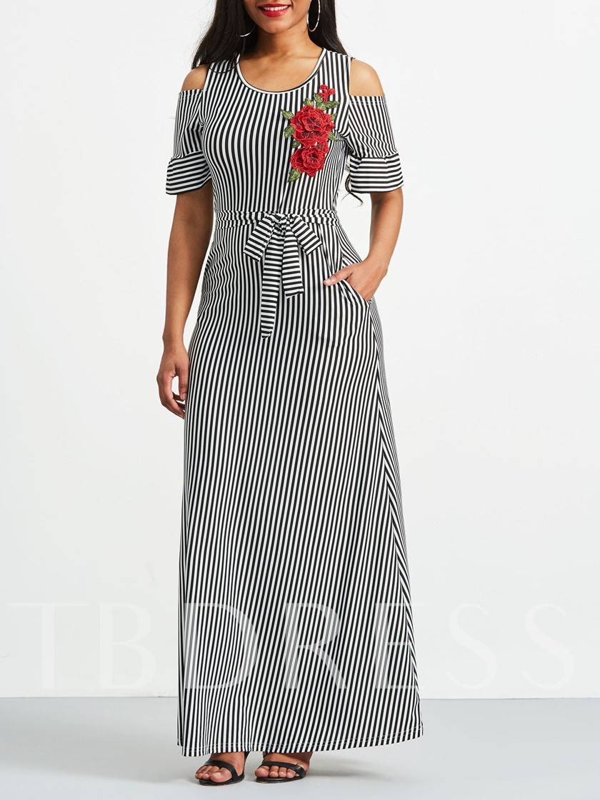Round Neck Stripe Embroidery Maxi Dress