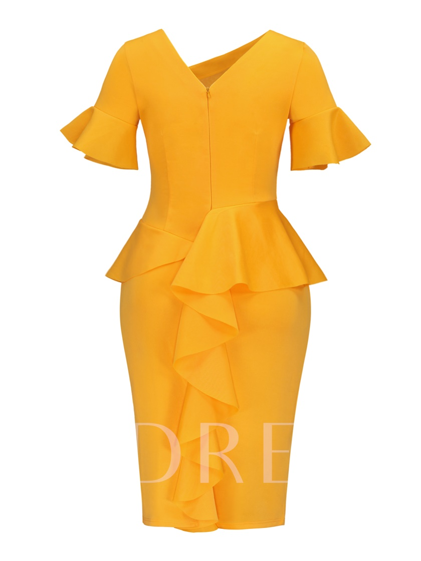 Yellow Short Sleeve V Back Women's Sheath Dress
