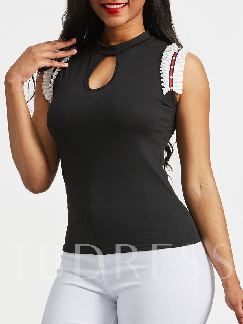 Hollow Faux Pearl Frill Sleeveless Women's Blouse