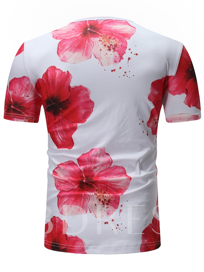 Peach Blossom Print Thin Summer Men's T-Shirt