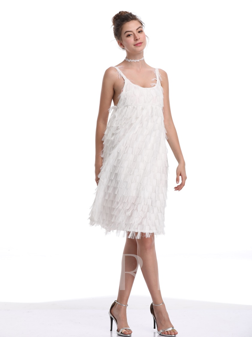 White Spaghtti Strap Backless Scoop Party Dress