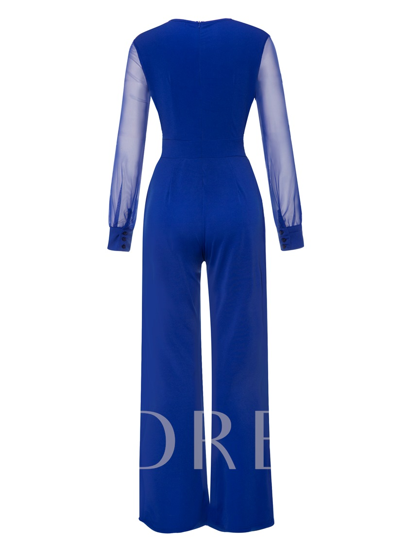 Plain Hollow Mesh Women's Jumpsuit