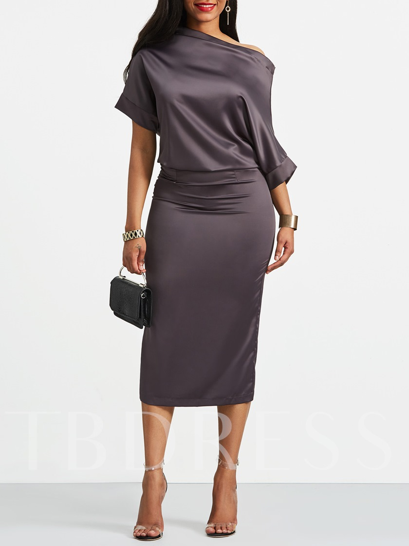 Double-Layered Half Sleeve Boat Neck Women's Bodycon Dress