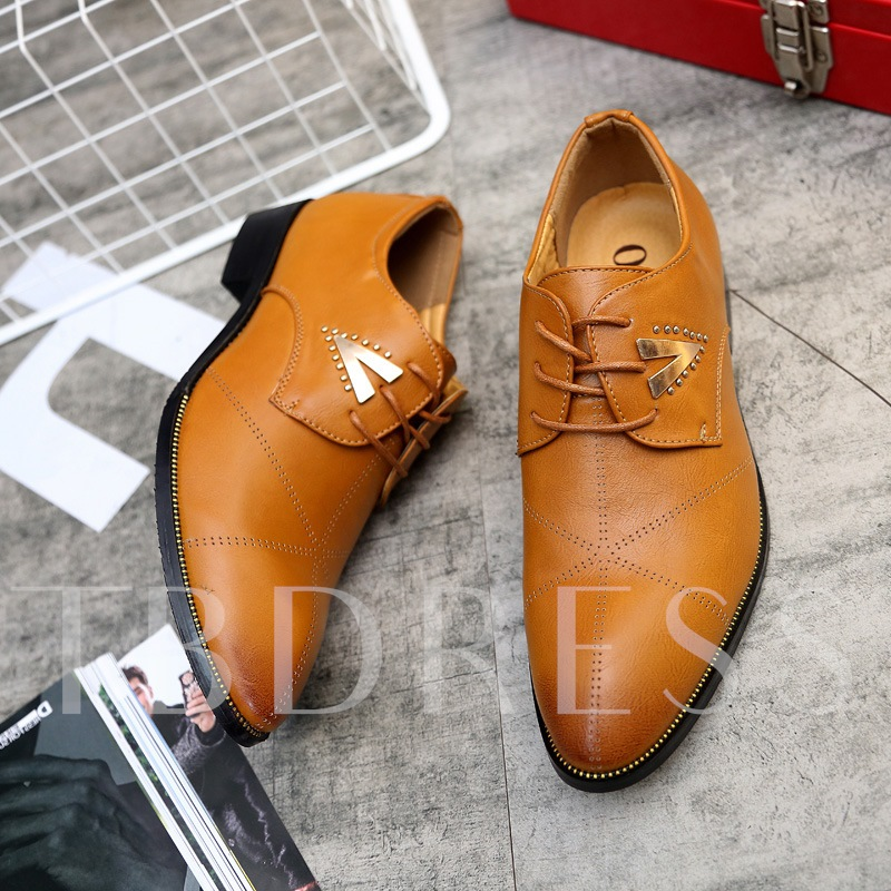 Round Toe Sequin Lace-Up Professional Shoes for Men