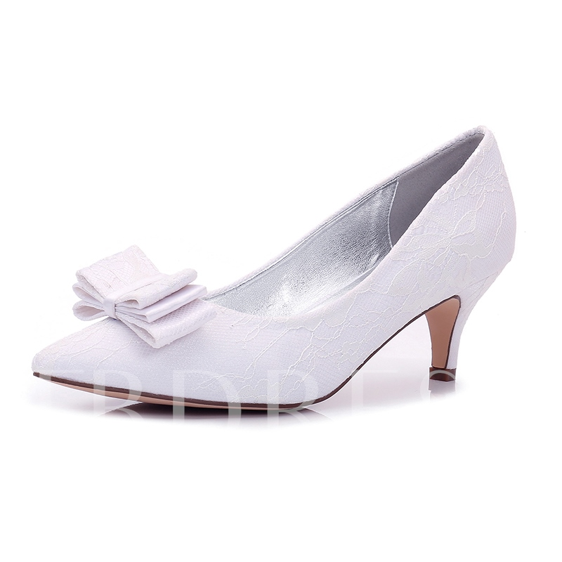 Delicate Lace Bowknot Wedding Shoes for Bridal