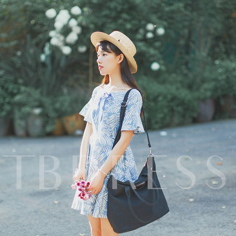 Fresh style Solid Color Letter Tote Bag