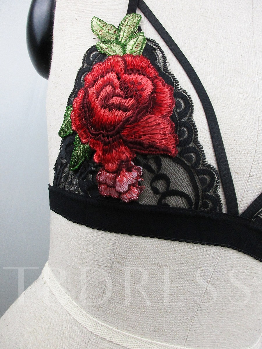 Embroidery Floral Hollow Bra
