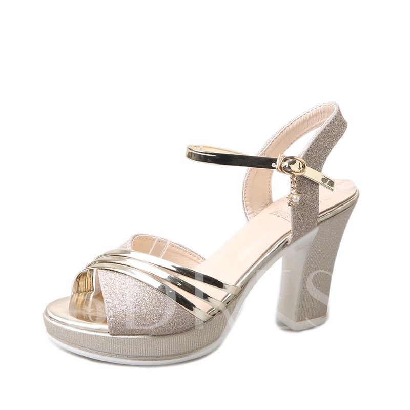 Thick Heel Shoes Sequin Platform Women's Sandals