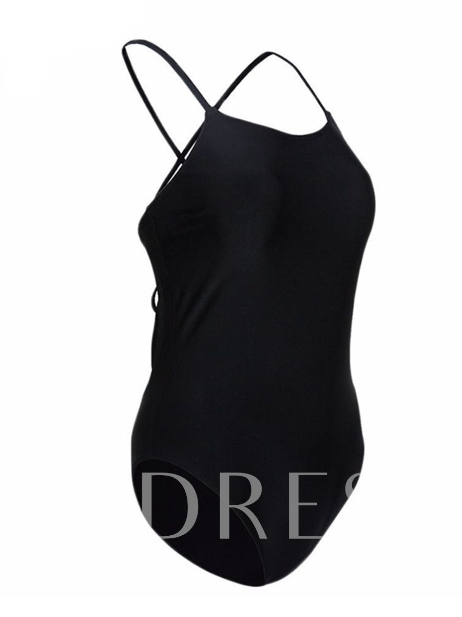 Black Plain Cross Back One Piece Bathing Suits