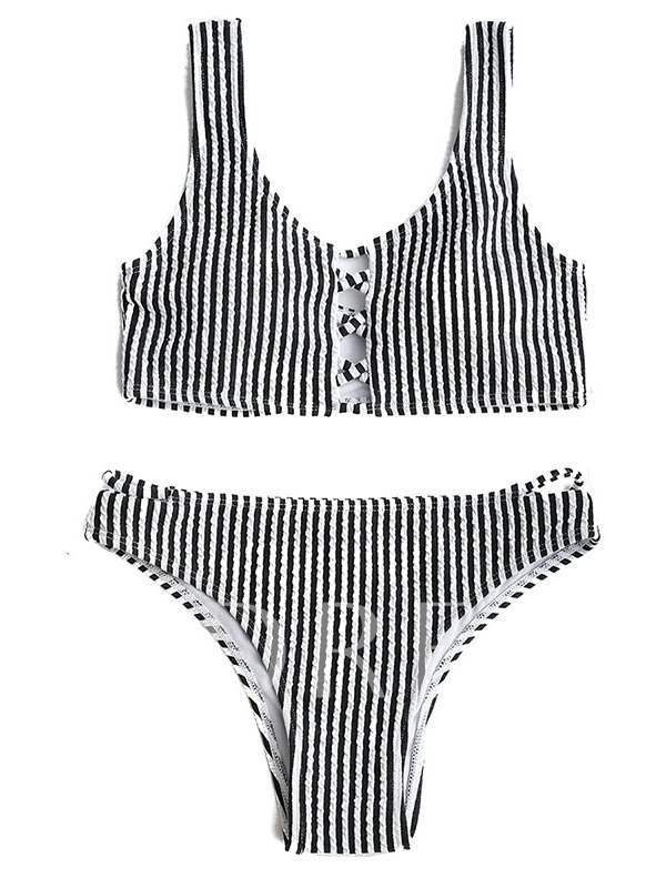 Black Stripe Chic 2-Pcs Bikini Beach Bathing Suits