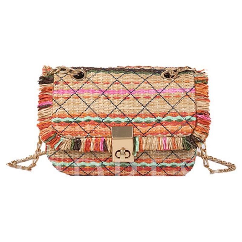 Bohemian Grass Knitted Chain Crossbody Bag