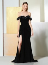 Trumpet Off-the-Shoulder Flowers Evening Dress