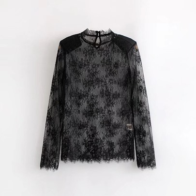 Sheer Lace And Mesh Patchwork Women's Blouse