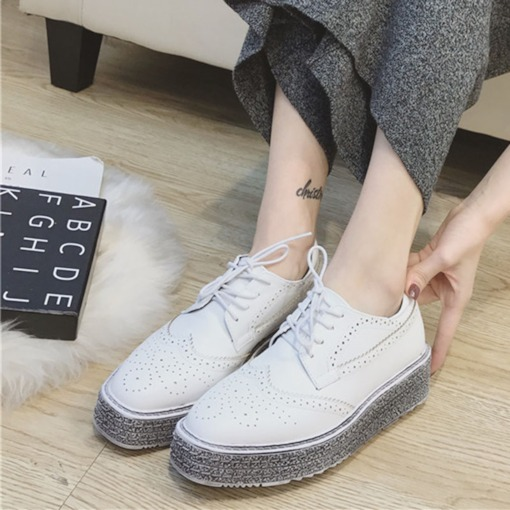 Round Toe Platform Lace-Up Chic Oxford for Women