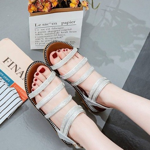 Open Toe Strappy Rhinestone Wedge Heel Women's Sandals