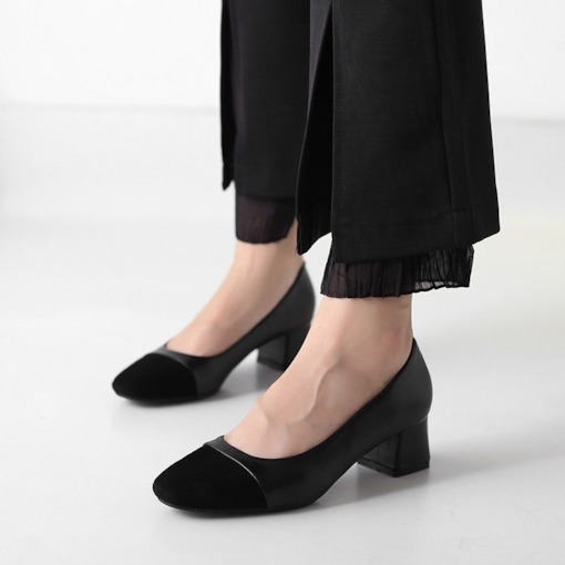 Patchwork Square Toe Chunky Heel Plain Elegant Women's Pumps