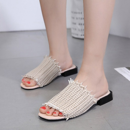 Woven Block Heel Stylish Slip-On Women's Sandals