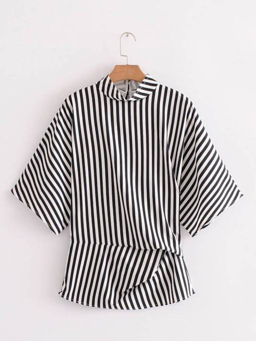 Twist Front Stand Collar Stripe Printed Women's Blouse