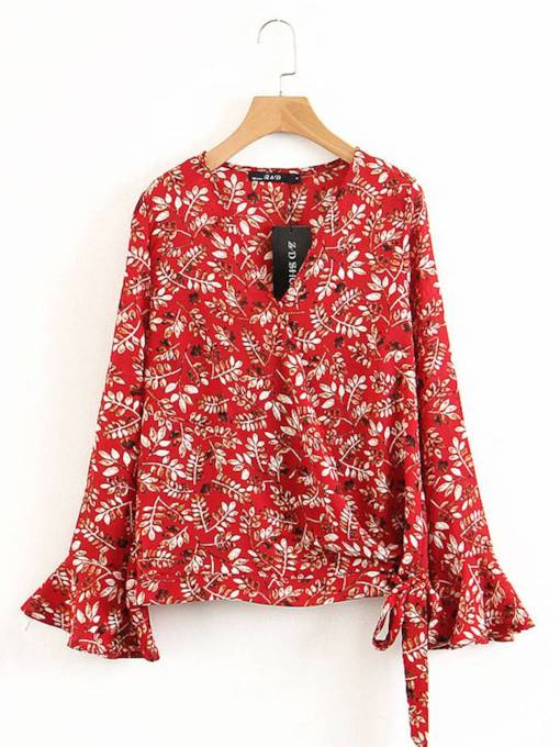 Bell Sleeve Lace Up Floral Women's Blouse