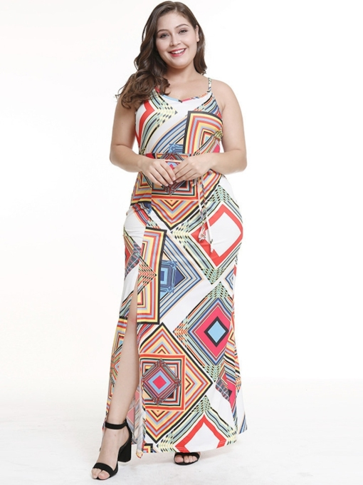 Plus Size Color Block Prints Women's Maxi Dress
