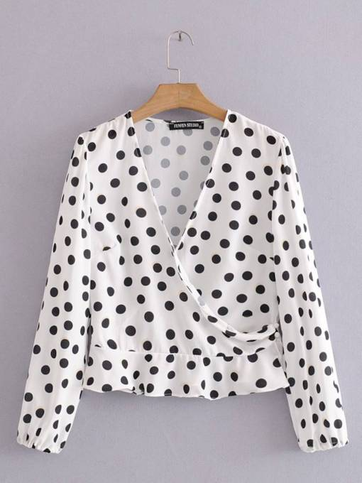 Polka Dot Wrap Top Long Sleeve Women's Blouse
