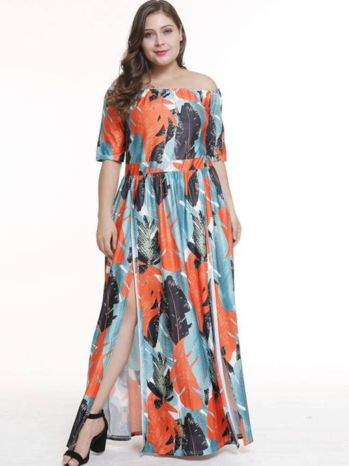 Plus Size Off Shoulder Prints High Waist Split Maxi Dress