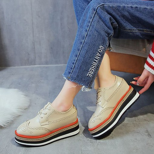 Hidden Elevator Heel Lace-Up Round Toe Chic Women's Sneaker