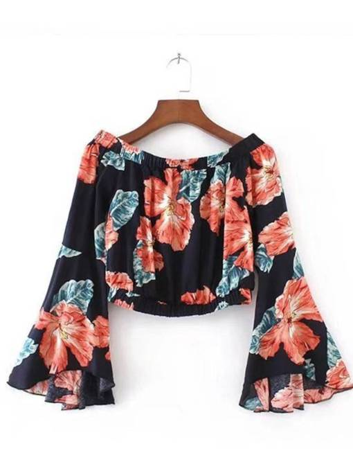 Bell Sleeve Slash Neck Floral Crop Top Women's Blouse