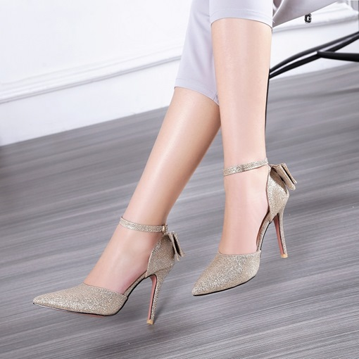 Glitter Line Style Buckle Big Bow Back High Heels for Women