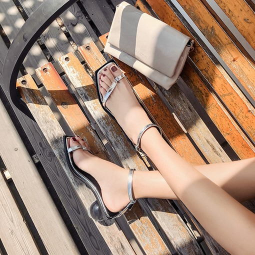 Toe Ring Ankle Strap Line-Style Buckle Exquisite Women's Sandals
