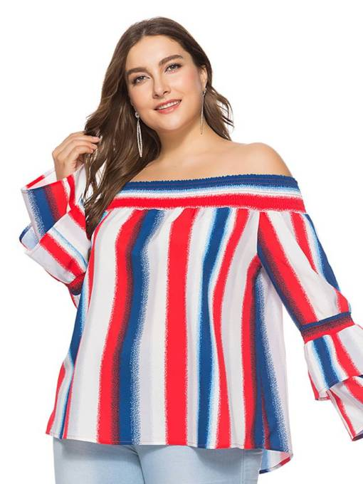 Plus Size Contrast Color Layered Flare Sleeve Women's T-Shirt