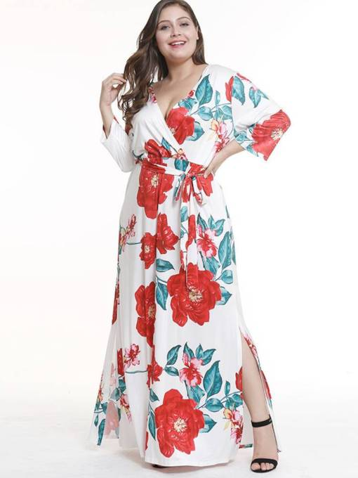 Plus Size Short Sleeve Prints Split Maxi Dress