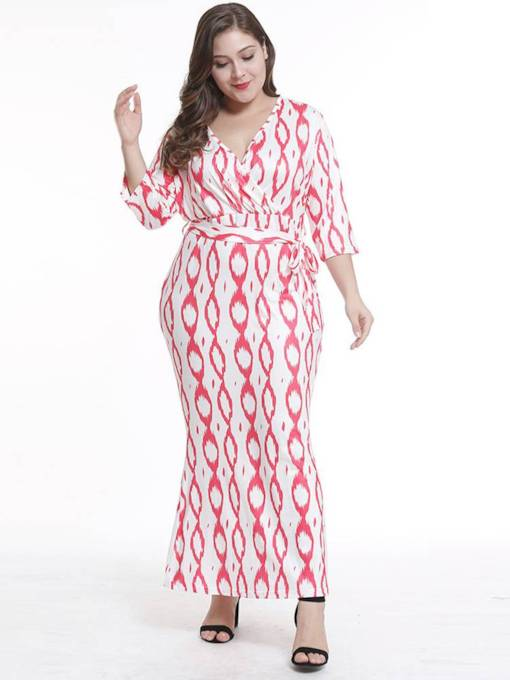 Plus Size 3/4Length Sleeve Prints Maxi Dress