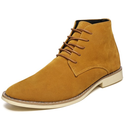 Lace-Up Front Suede Round Toe Sewing Martin Boots for Men