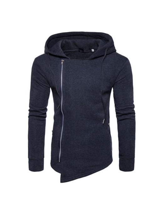 Loose Zipper Plain Men's Hoodie