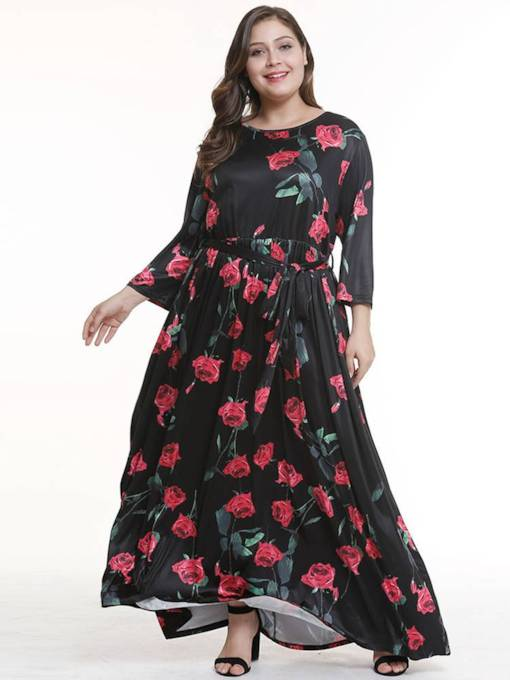 Plus Size Long Sleeve Prints High Waist Maxi Dress